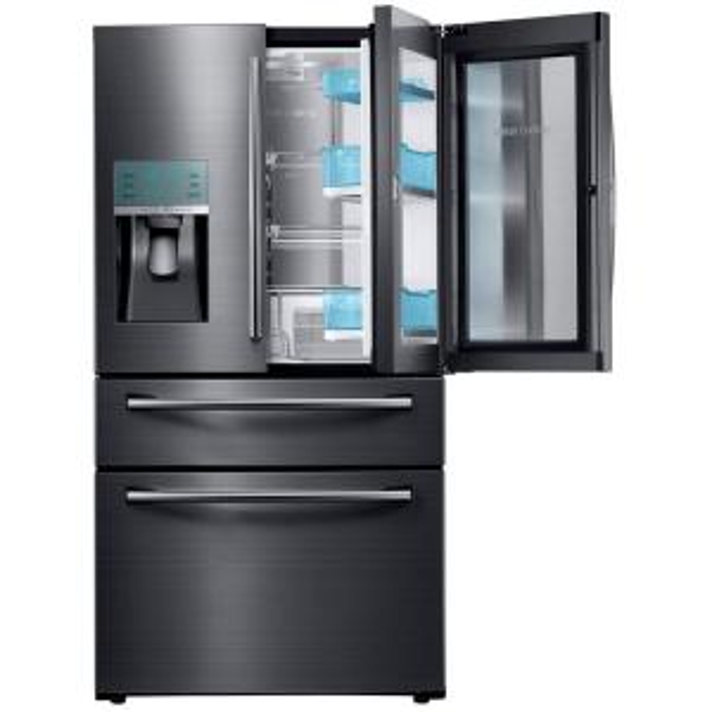 Samsung 22.4 cu. Ft. Food Showcase 4-Door French Door Refrigerator in Black Stainless Steel, Counter Depth by Samsung