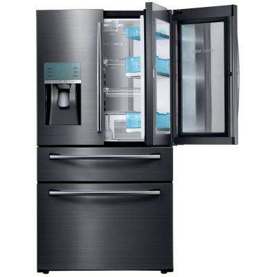 27.8 cu. ft. Food Showcase 4-Door French Door Refrigerator in Black Stainless Steel