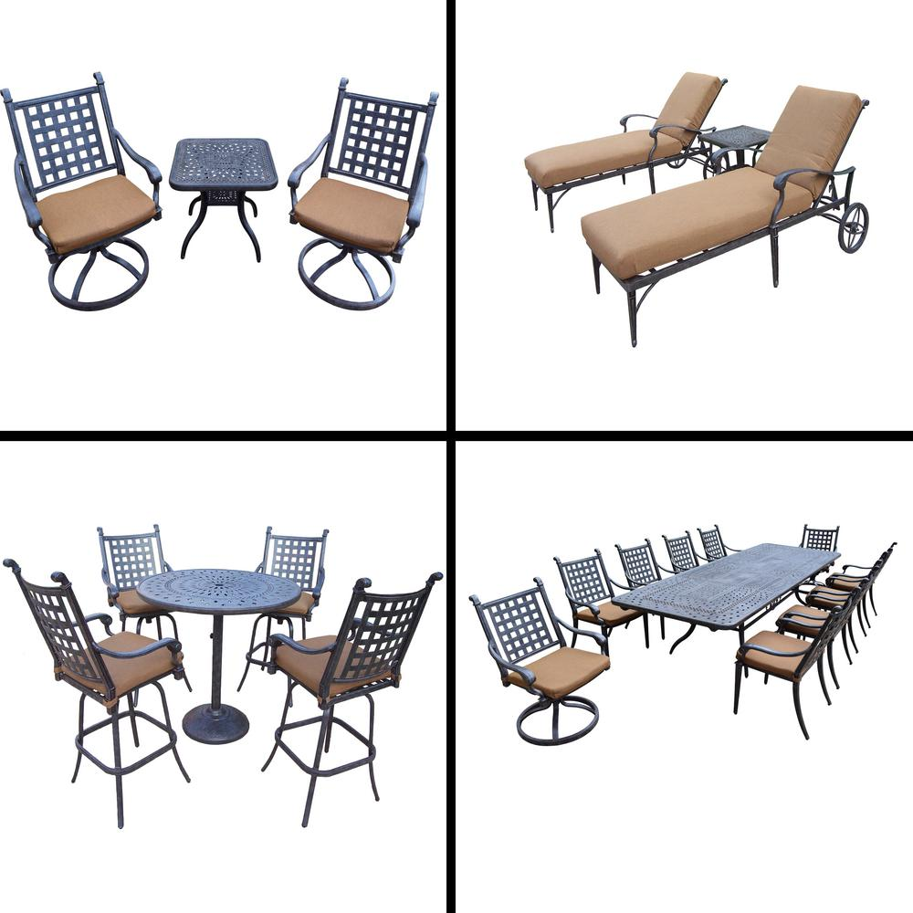 Belmont 22-Piece Aluminum Outdoor Dining Set with Sunbrella Brown Cushions