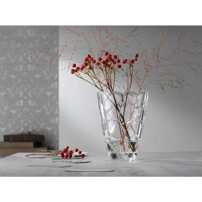 Petals 8 in. Crystal Decorative Oval Vase in Clear