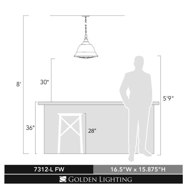 Golden Lighting Bartlett 2 Light French White Pendant 7312 L Fw The Home Depot