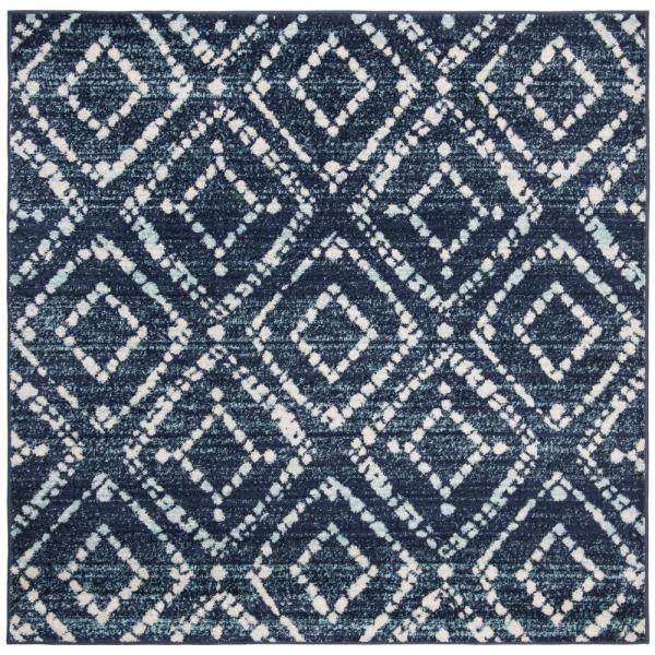 Adirondack Navy/Ivory 8 ft. x 8 ft. Square Area Rug