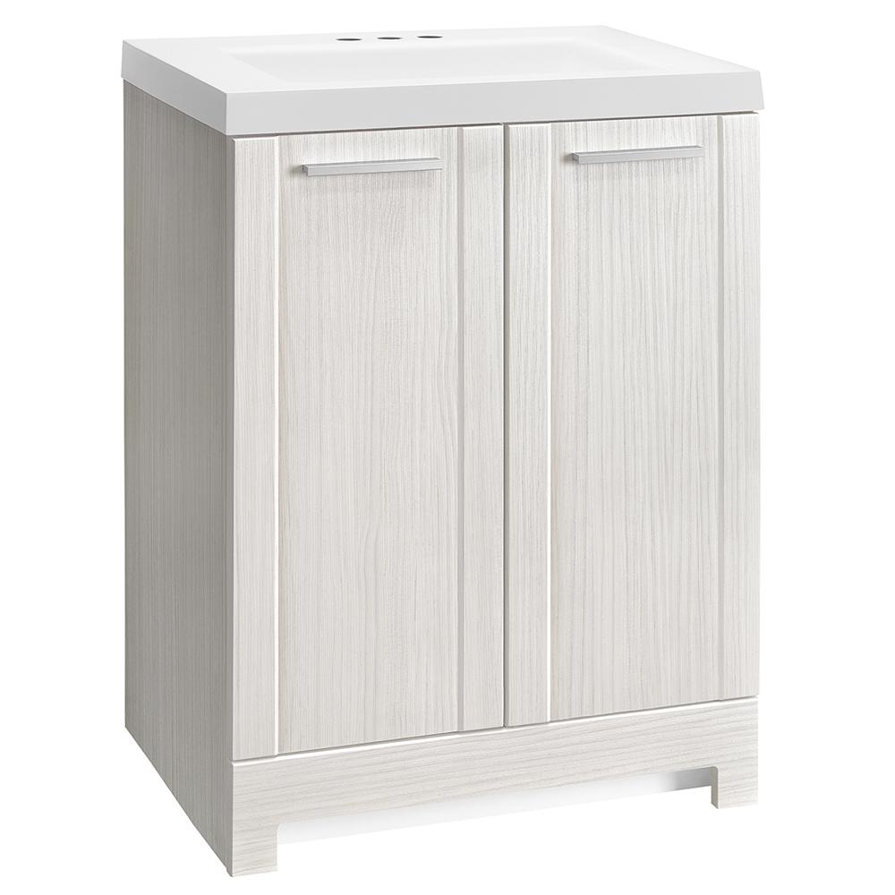Glacier Bay Brookcrest 24.5 in. W Bath Vanity in Stone Washed with Cultured Marble Vanity Top in White with White Sink