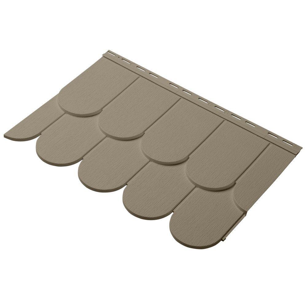 Cedar Dimensions Round Cut 24 in. Polypropylene Siding Sample in Khaki