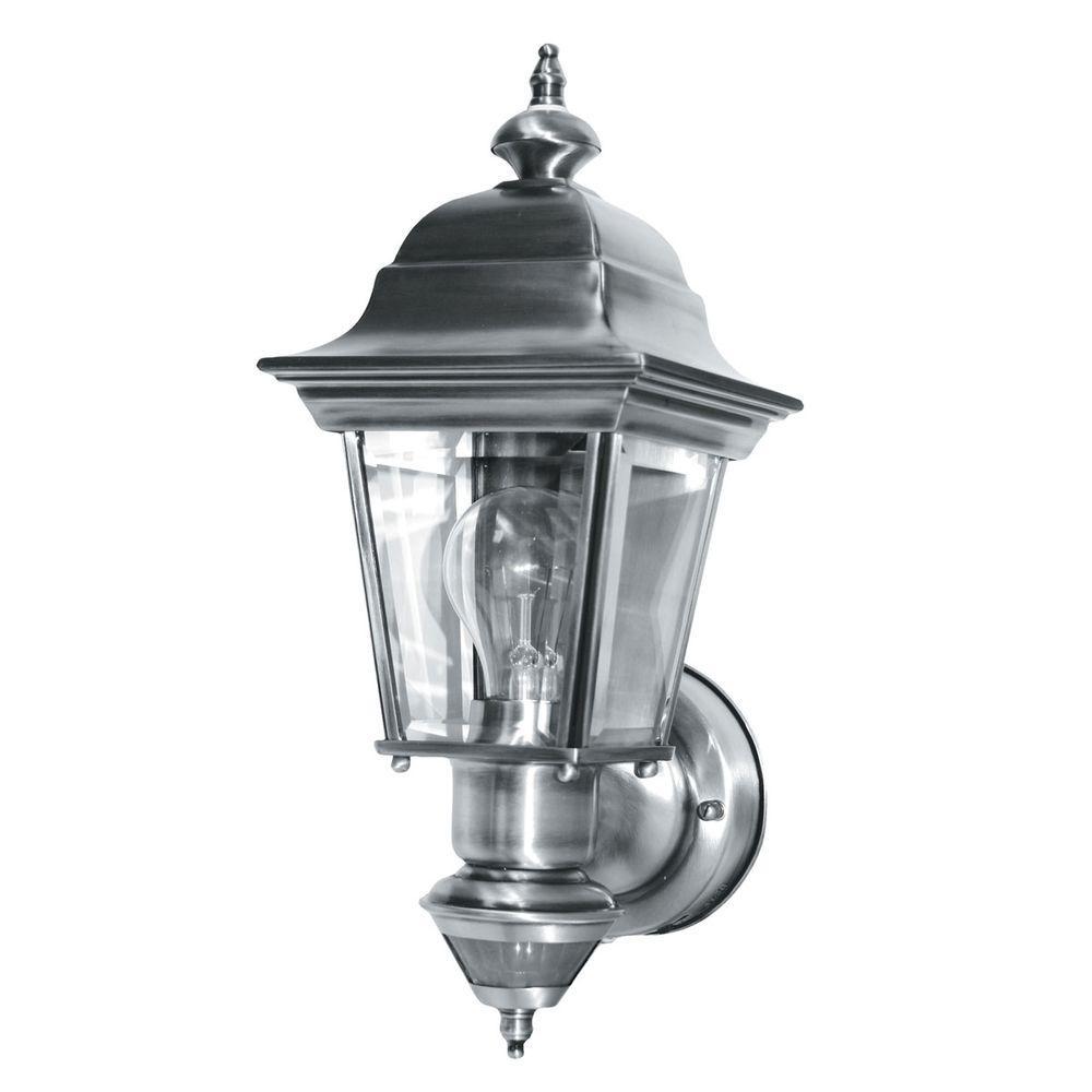 Heath Zenith 150 Degree Artisian Motion Sensing Decorative Lantern - Brushed Nickel-DISCONTINUED