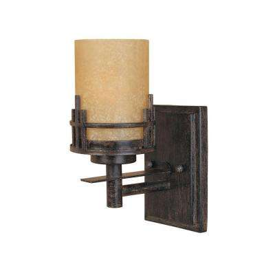 Mission Hills Collection 1-Light Warm Mahogany Wall Mount Sconce