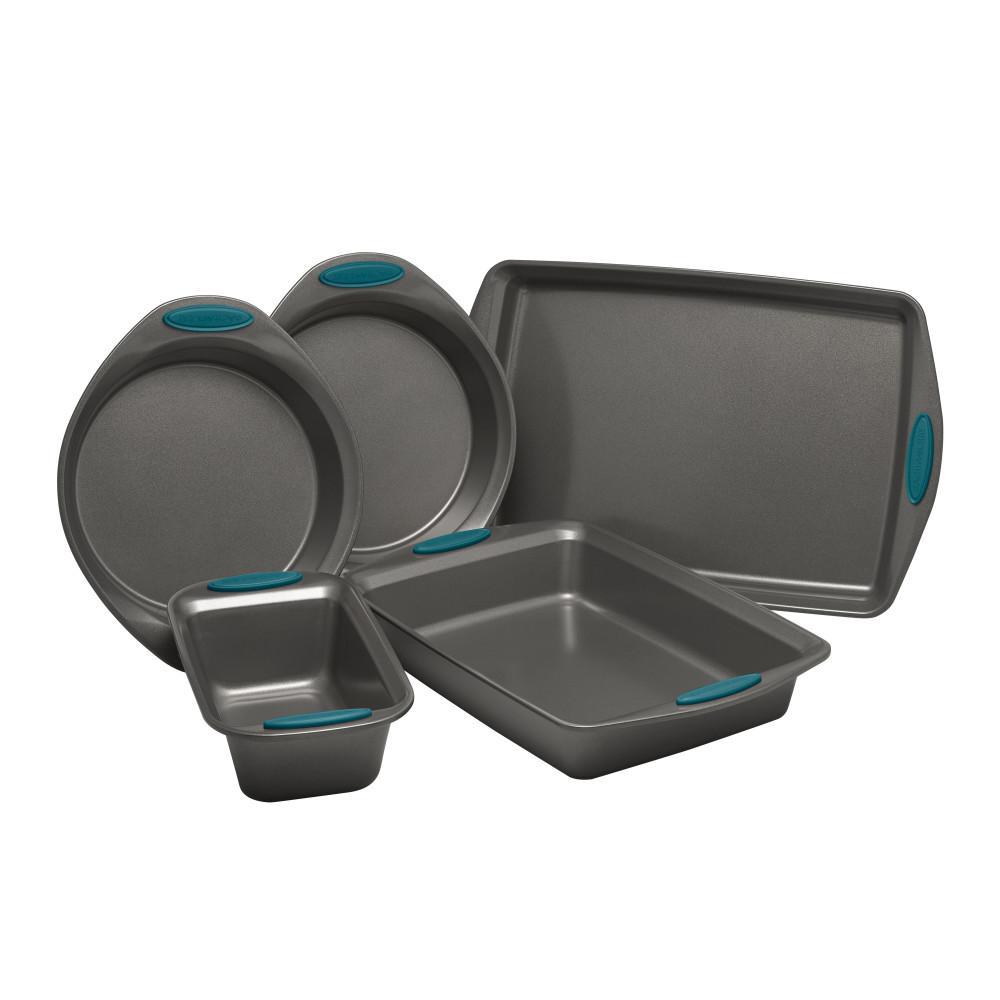 5-Piece Set Yum-o! Nonstick Oven Lovin' Bakeware Set, Gray with Marine Blue Handles