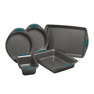 5-Piece Set Yum-o! Nonstick Oven Lovin' Bakeware Set, Gray with Marine Blue Handles