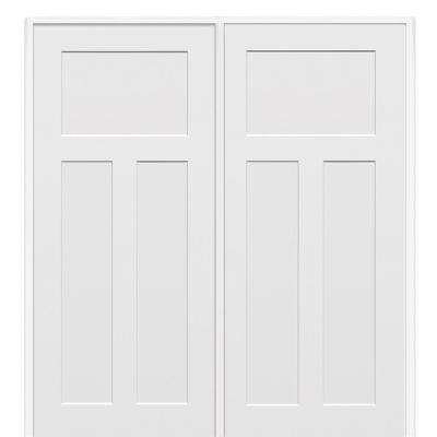 74 in. x 81.75 in. Primed Craftsman Smooth Surface Solid Core Interior Double Door