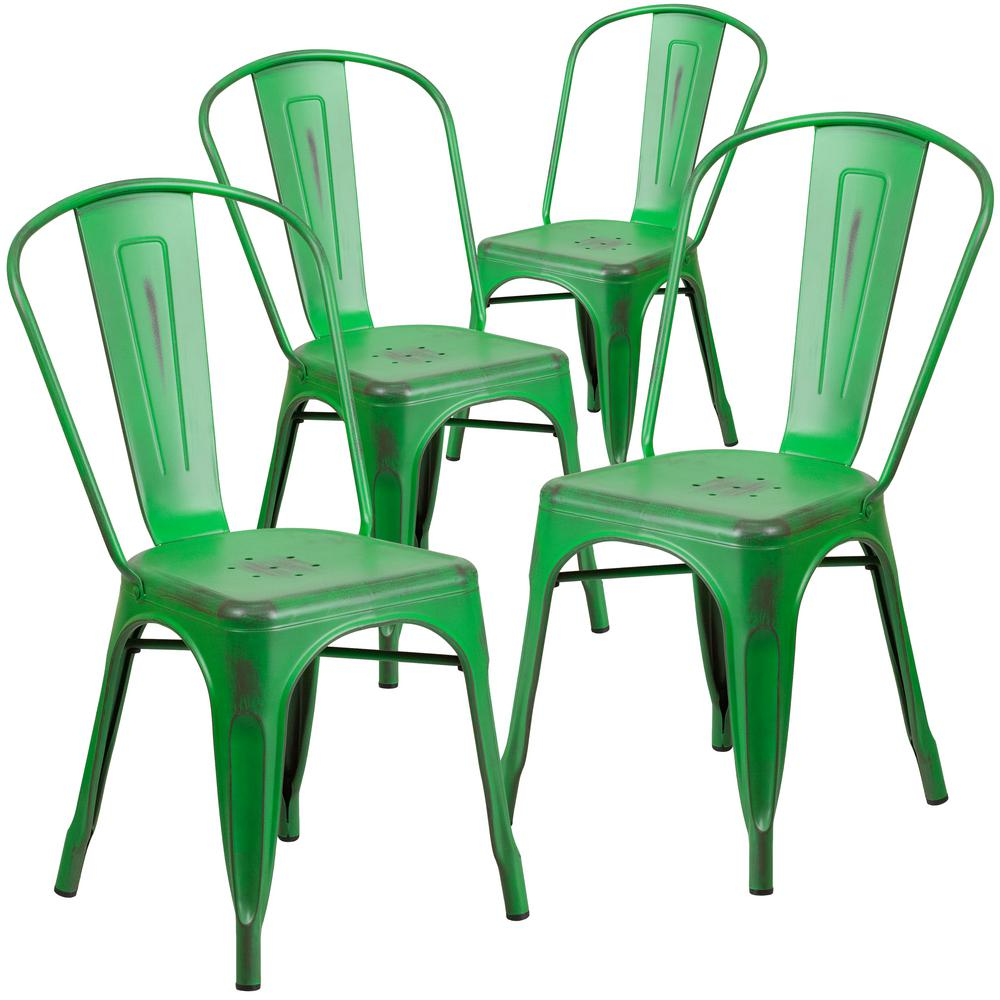 Stackable Metal Outdoor Dining Chair in Green (Set of 4)