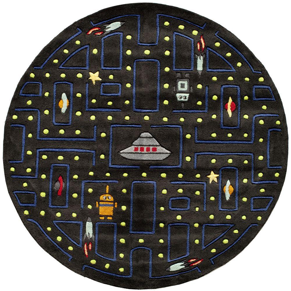 Caprice Arcade Black 5 ft. x 5 ft. Indoor Round Area