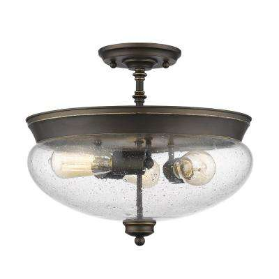 Amonte 3-Light Olde Bronze Semi-Flush Mount with Clear Seedy Shade