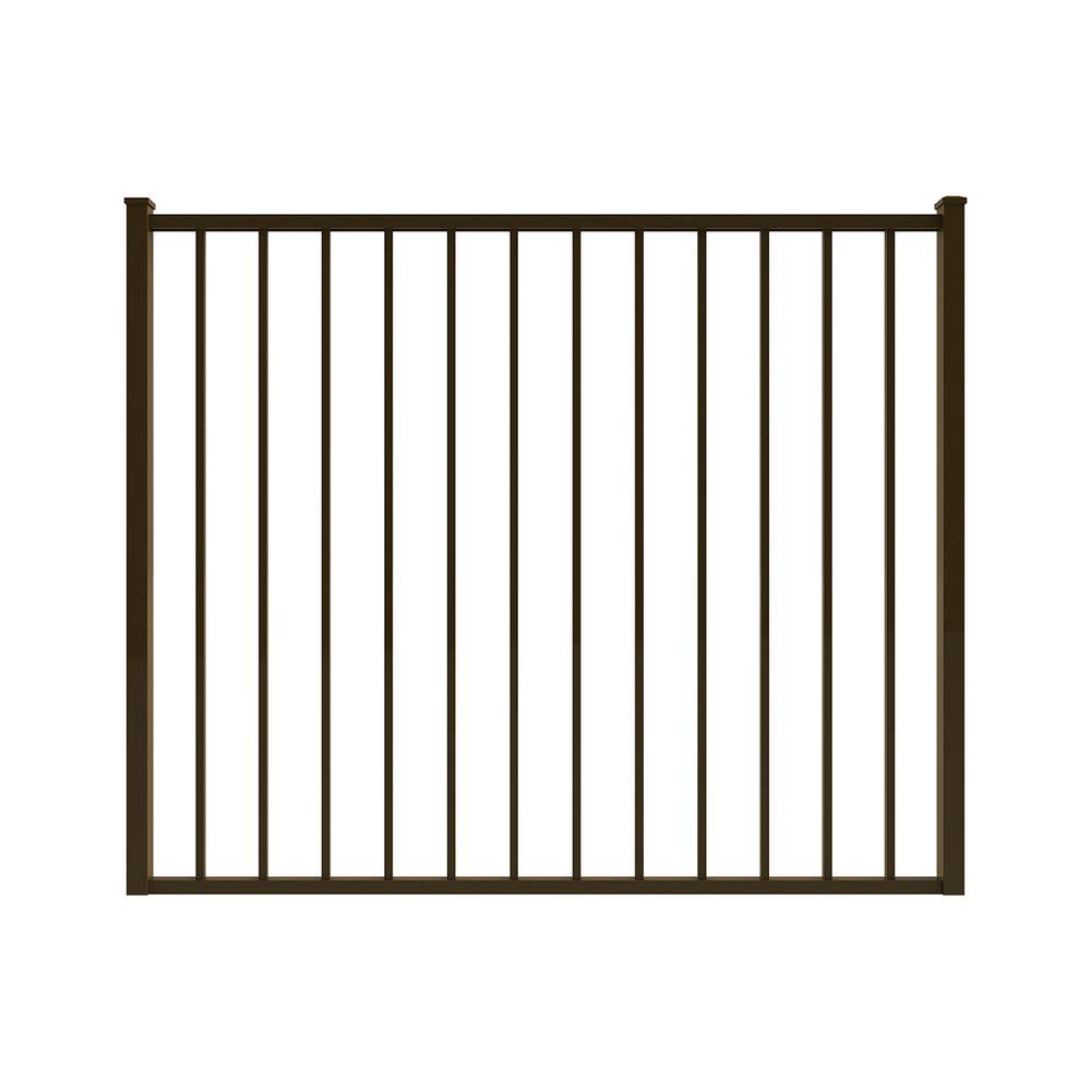 Newtown 5 ft. W x 4 ft. H Bronze Aluminum Pre-Assembled Fence Gate