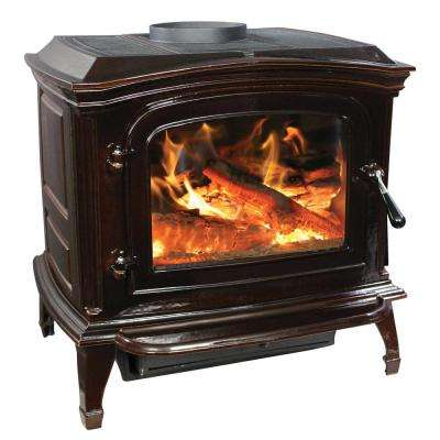 1,200 sq. ft. EPA Certified Cast Iron Wood Stove Mahogany Enameled Porcelain