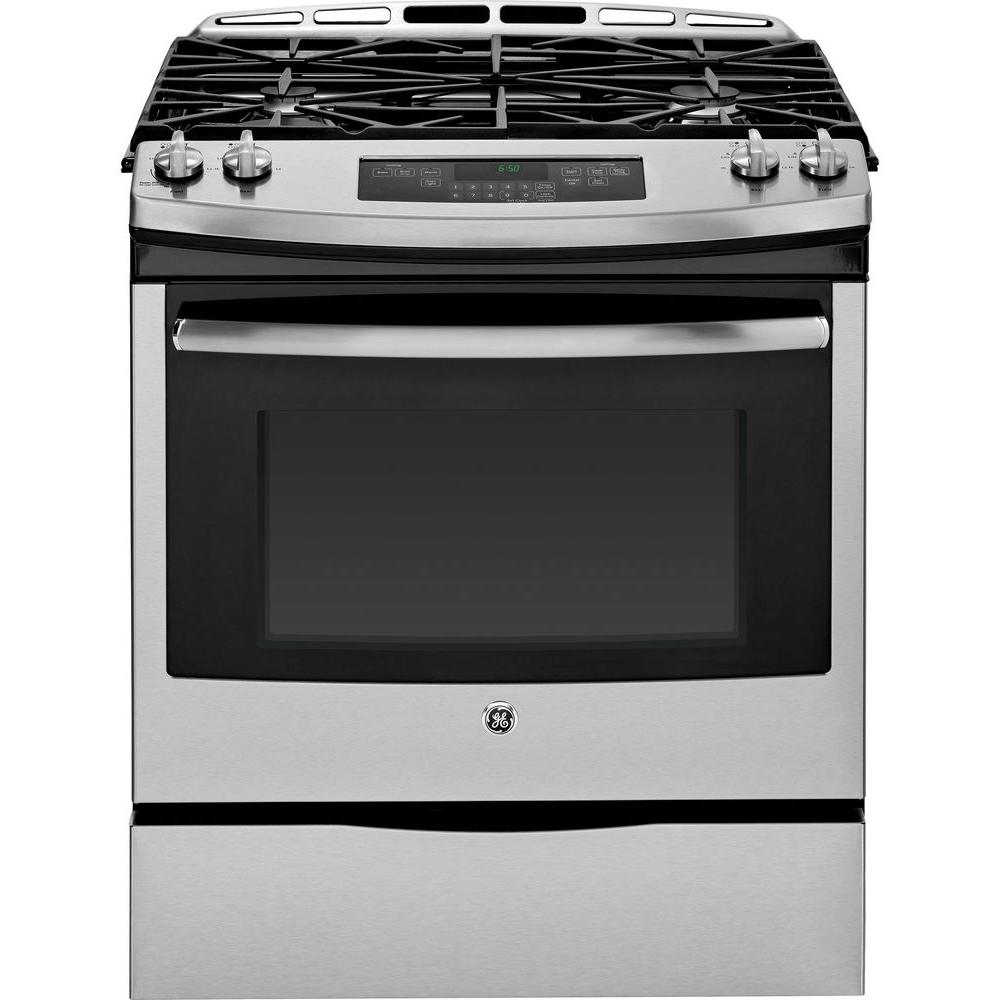 GE 5.6 cu. ft. Slide-In Gas Range with Self-Cleaning Oven in Stainless Steel