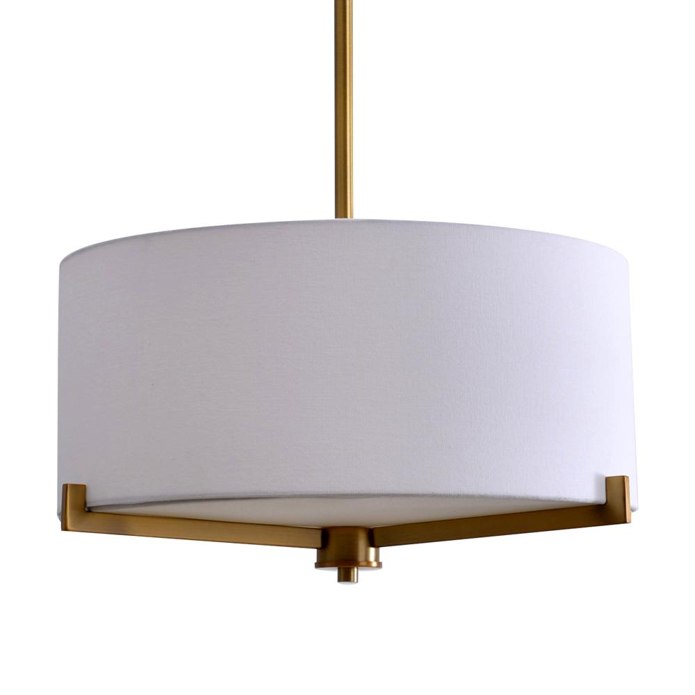 3 Light Br Semi Flush Mount With Fabric Shade