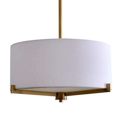 3-Light Brass Semi-Flush Mount Light with Fabric Shade
