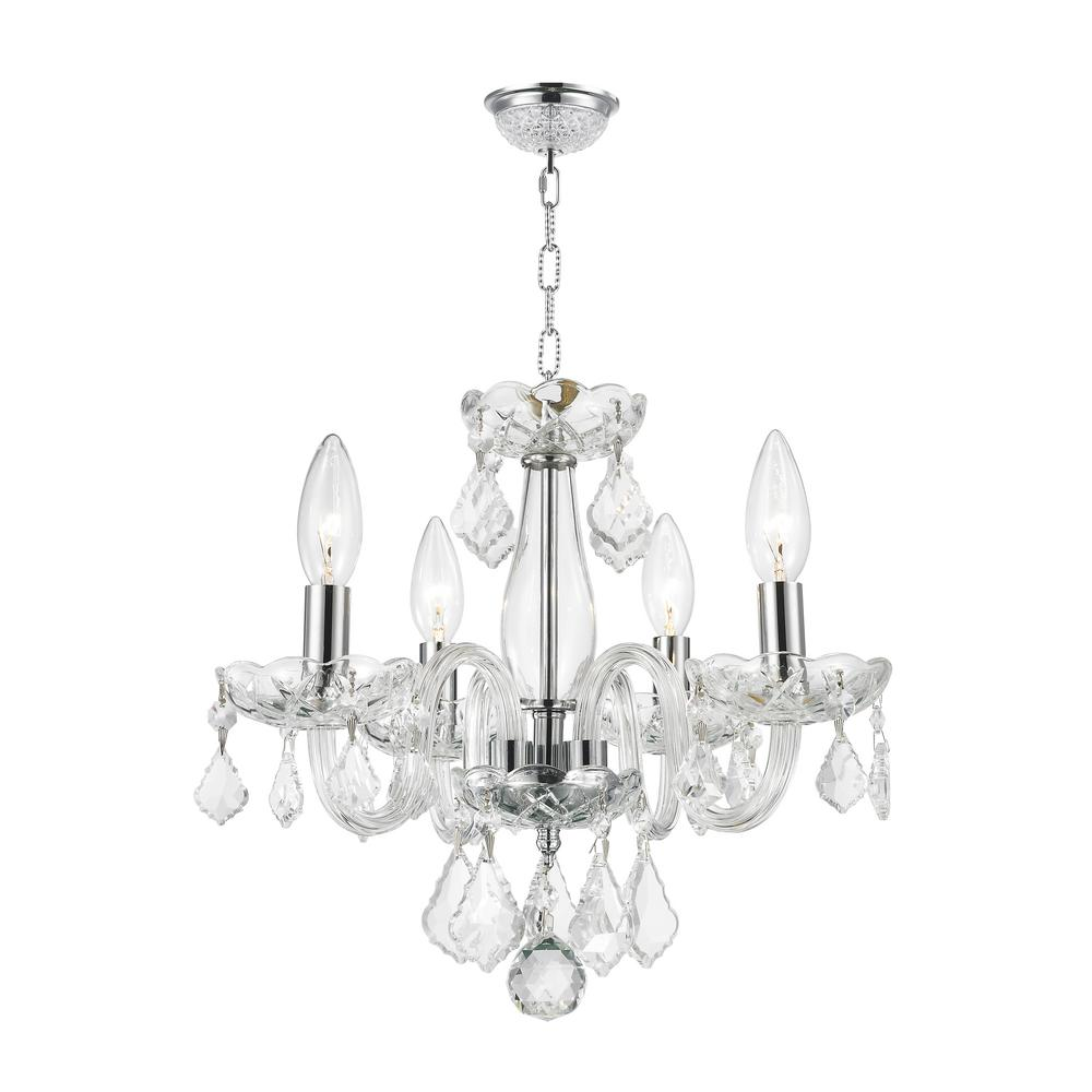 Worldwide Lighting Clarion Collection 4 Light Polished Chrome Crystal Chandelier With Clear Gl