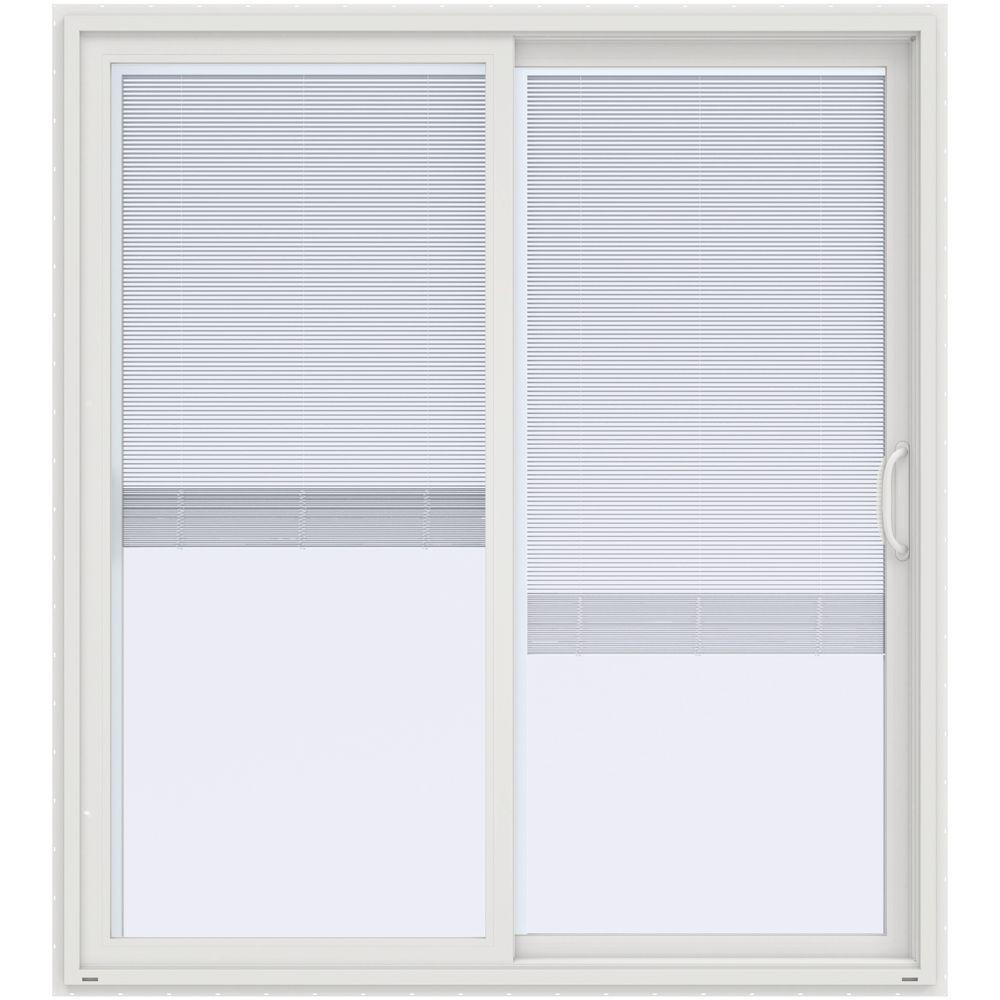 Jeld wen 72 in x 80 in v 4500 white prehung right hand for White sliding patio doors