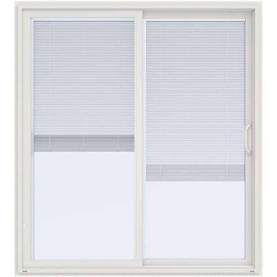 72 in. x 80 in. V-4500 White Prehung Right Hand Sliding Vinyl Patio Door with Blinds