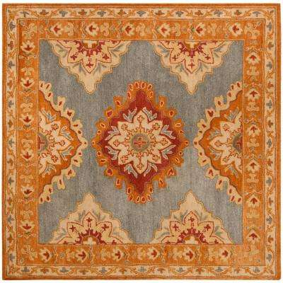 Heritage Blue/Rust 8 ft. x 8 ft. Square Area Rug