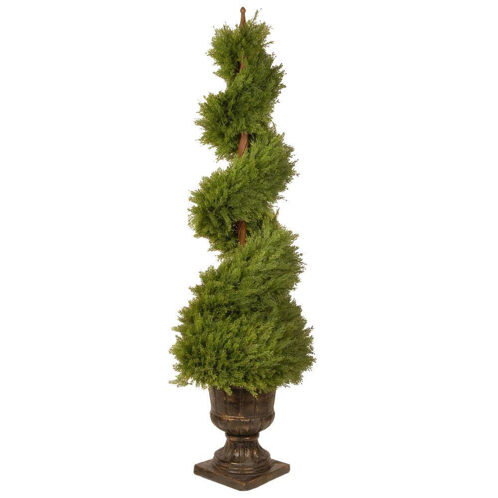 60 in. Juniper Spiral Tree with Decorative Urn