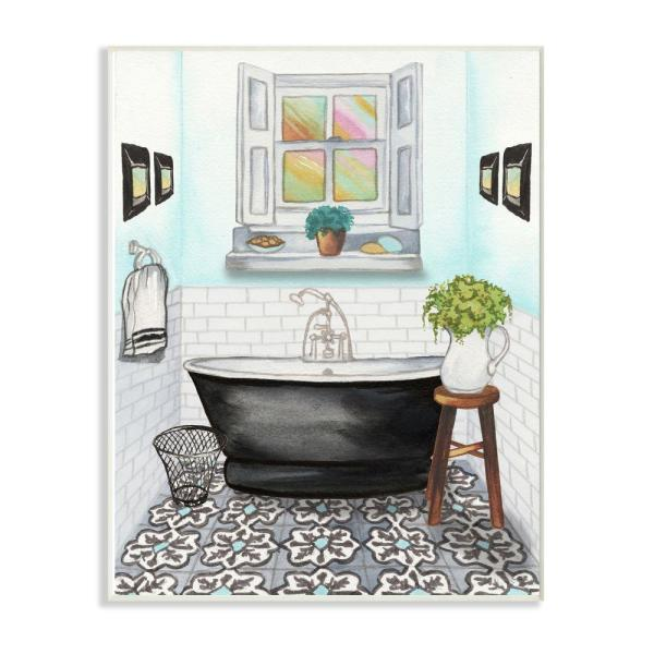 Stupell Industries 12 In X 18 In Cute Bathroom Blue By Elizabeth Medley Wood Wall Art Wrp 1357 Wd 12x18 The Home Depot