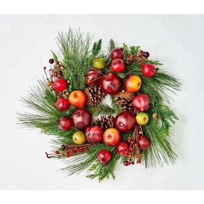 23 in. Pine Wreath with Fruit on Natural Twig Base