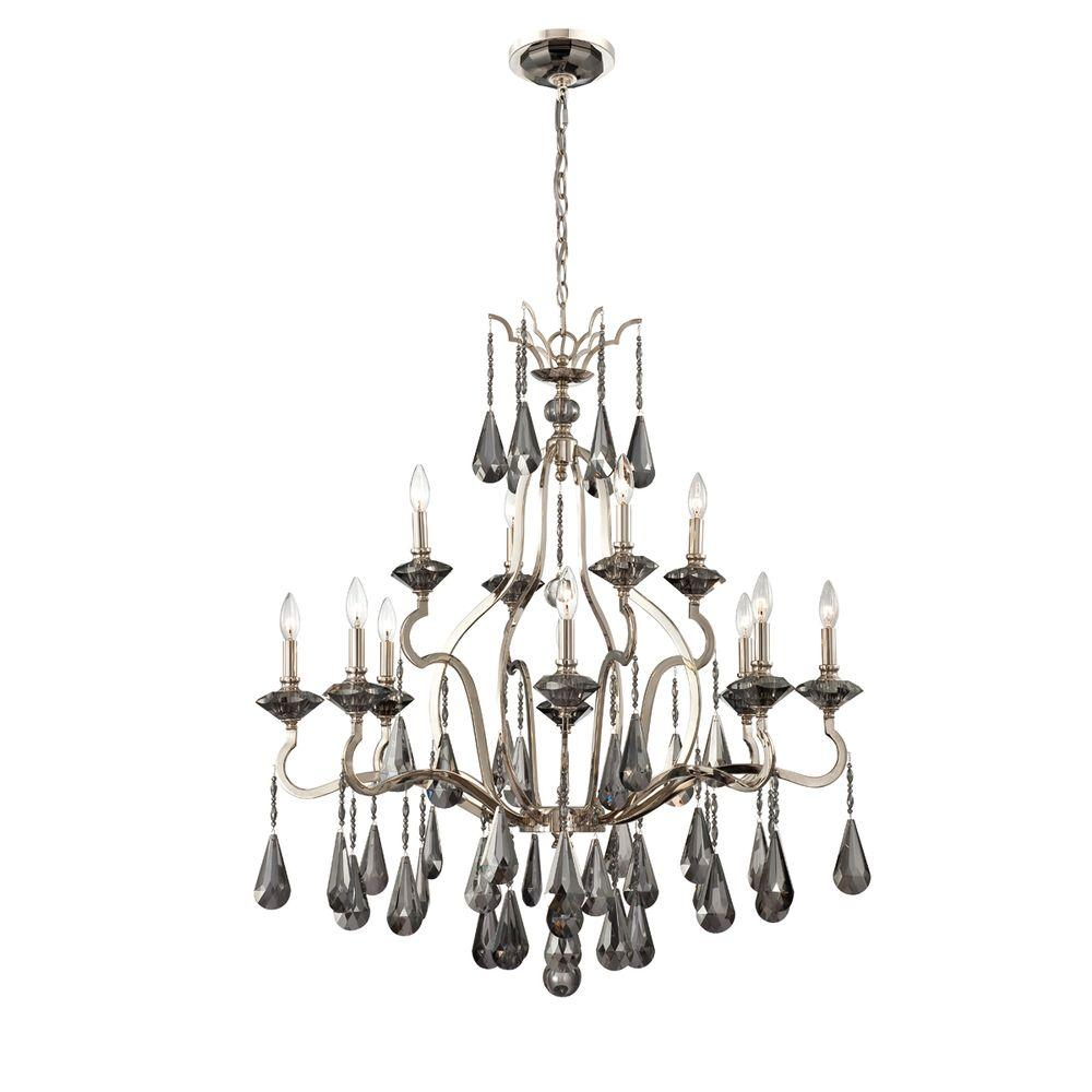Eurofase Rosini Collection 12-Light Polished Nickel Chandelier-DISCONTINUED