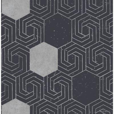 Momentum Navy Geometric Wallpaper