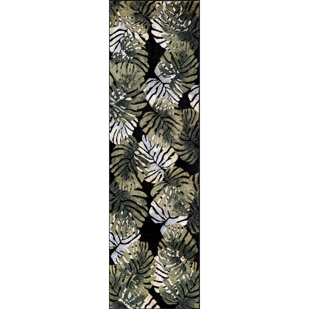 Olympus Tropical Black Rectangle Indoor 2 ft. x 7 ft. Runner