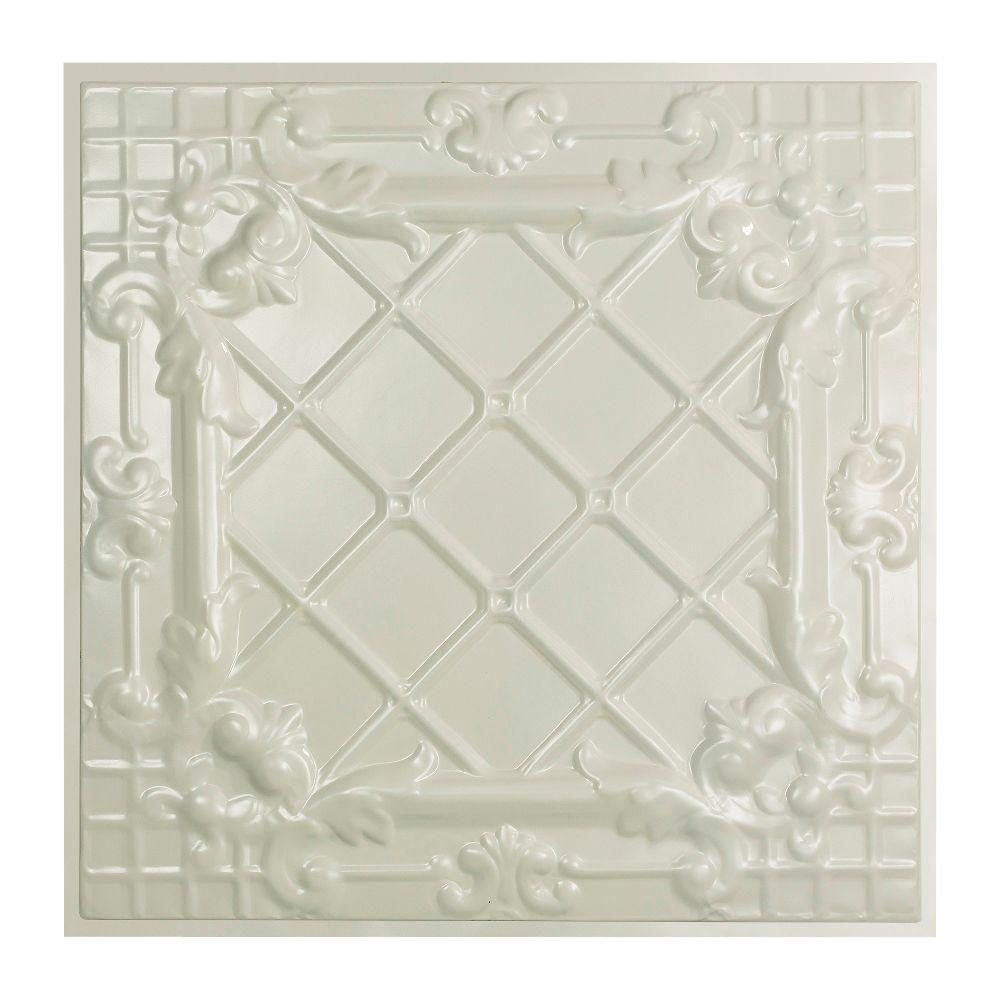 Great Lakes Tin Toledo 2 ft. x 2 ft. Lay-in Tin Ceiling Tile in Antique White