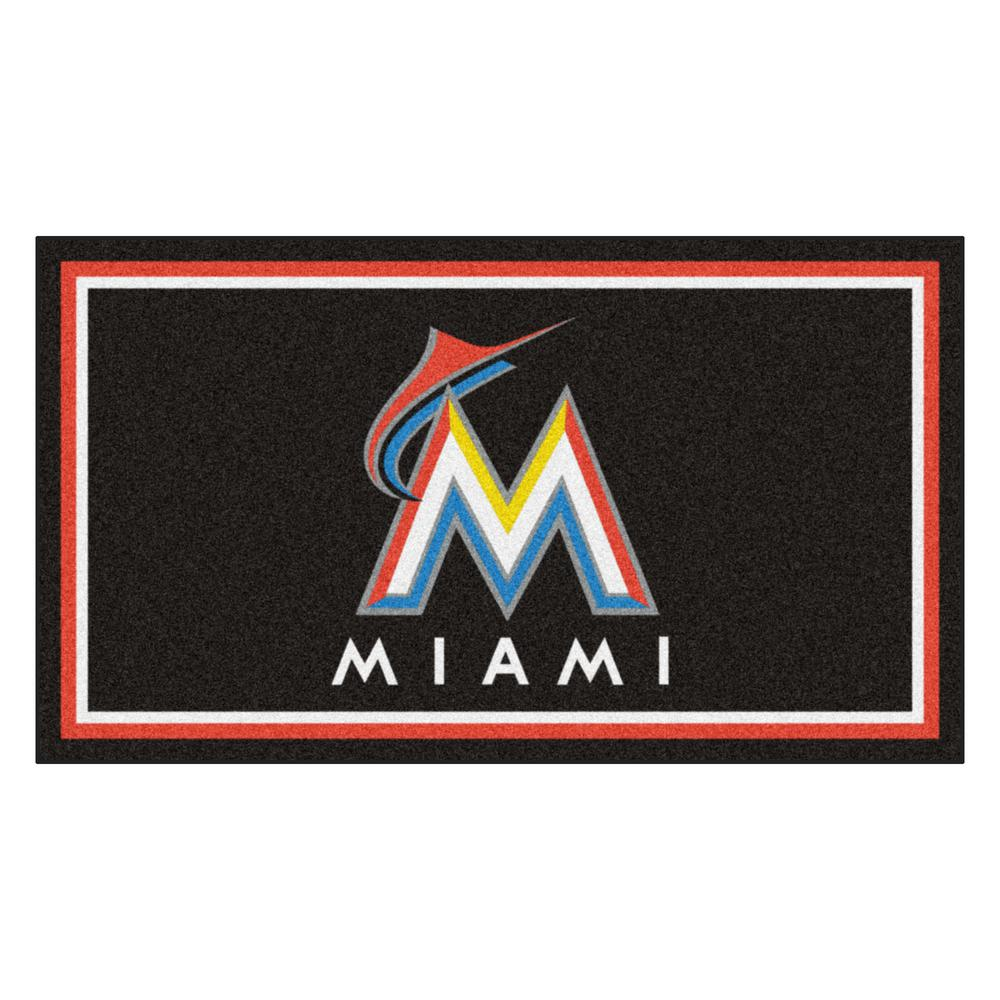 MLB - Miami Marlins 3 ft. x 5 ft. Ultra Plush Area Rug