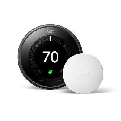 Smart Learning Wi-Fi 24-Day Programmable Thermostat, 3rd Gen, Mirror Black with Temperature Sensor