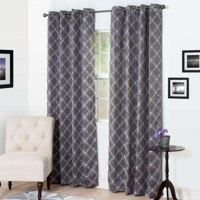 Blackout Myra Charcoal Polyester Darkening Curtain - 54 in. W x 84 in. L