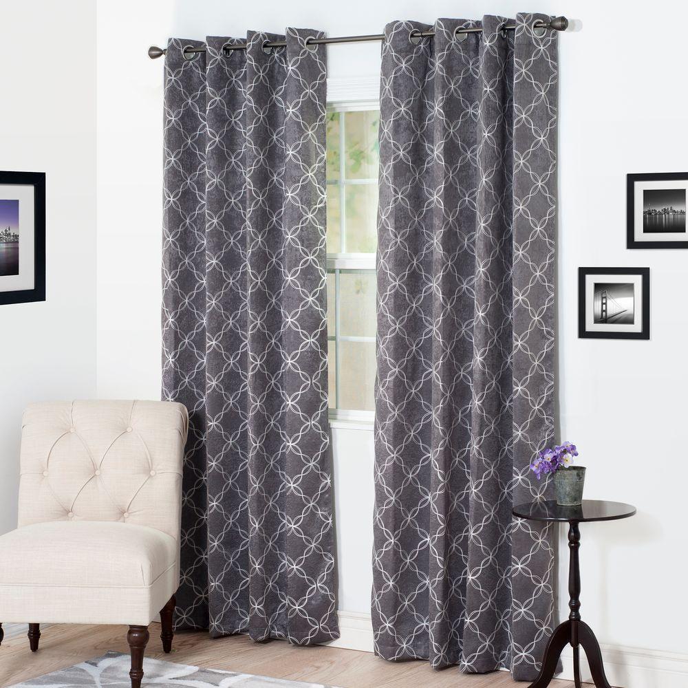 Blackout Myra Charcoal Polyester Darkening Curtain ...