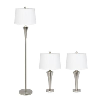 Tapered Brushed Nickel 2-Modern Table and 1-Floor Lamp Set (3-Pack)