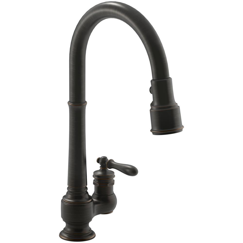 KOHLER Artifacts SingleHandle PullDown Sprayer Kitchen Faucet In - Oil rubbed bronze pull down kitchen faucet