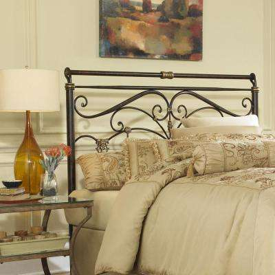 Lucinda Queen-Size Metal Headboard with Intricate Scrollwork and Sleighed Top Rail Panel in Marbled Russet