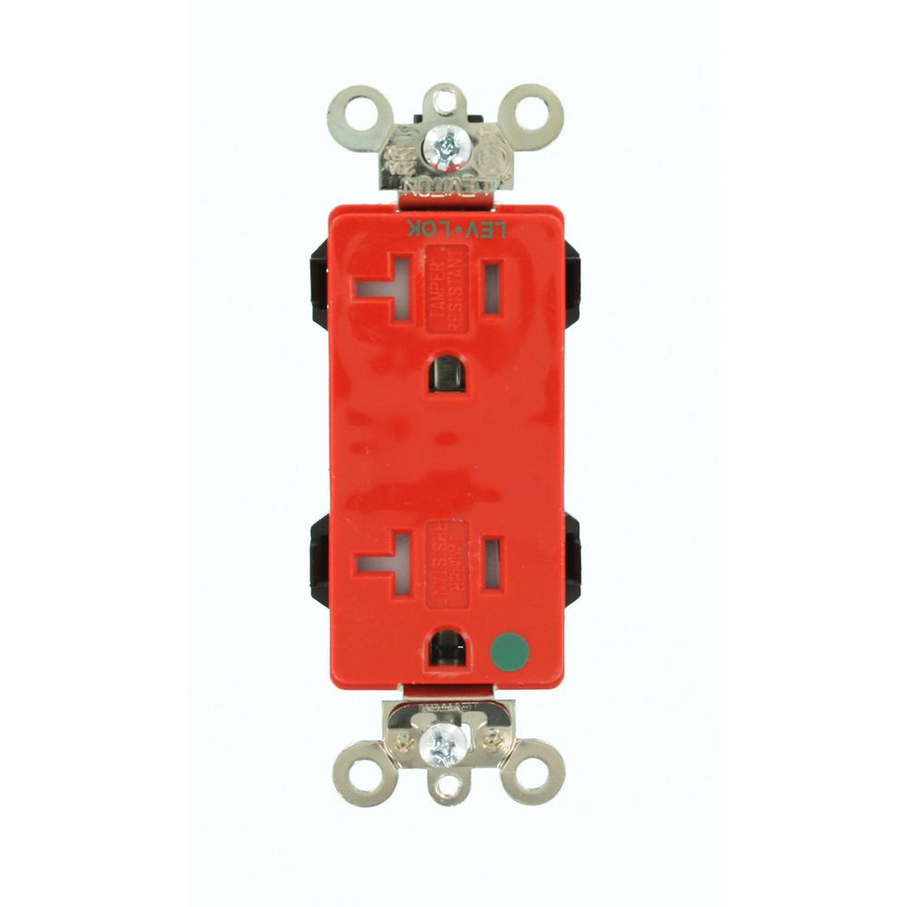 Leviton Decora Plus 20 Amp Lev Lok Modular Wiring Device Hospital Duplex Receptacle Grade Outlet