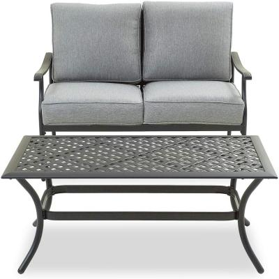 2-Piece Metal Outdoor Loveseat with Grey Cushions
