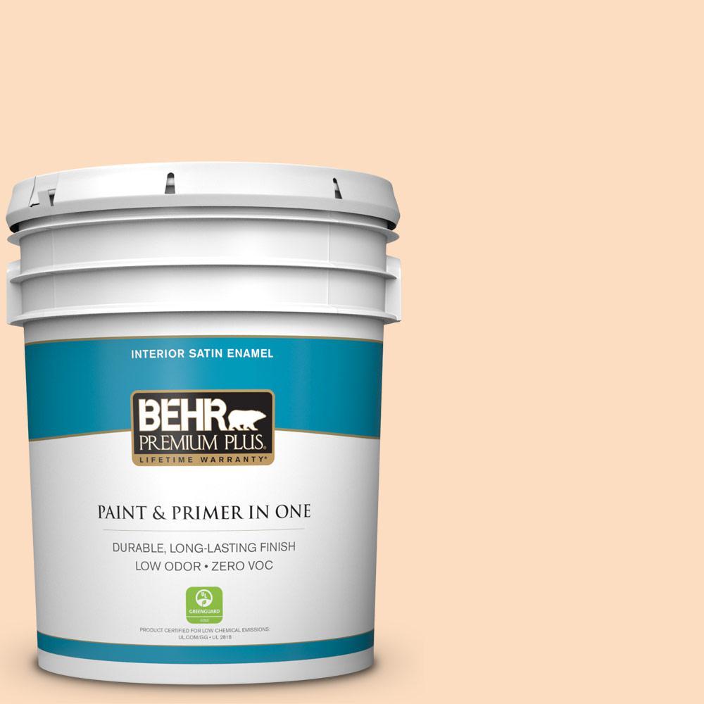 BEHR Premium Plus 5-gal. #270A-2 Orange Ice Zero VOC Satin Enamel Interior Paint
