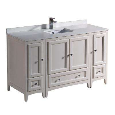 Oxford 54 in. Bath Vanity in Antique White with Quartz Stone Vanity Top in White with White Basin