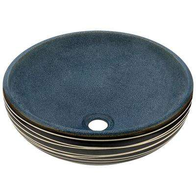 Hand-Thrown Ceramic Vessel Sink in Black and Blue