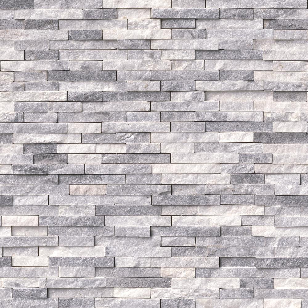 MSI Alaska Gray Split Face 12 in. x 12 in. x 10 mm Textured Marble Mesh-Mounted Mosaic Tile (10 sq. ft. / case)