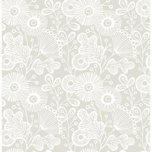 56.4 sq. ft. Ana Taupe Floral Wallpaper