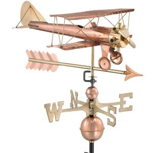 Good Directions Biplane with Arrow Weathervane-Pure Copper by Good Directions