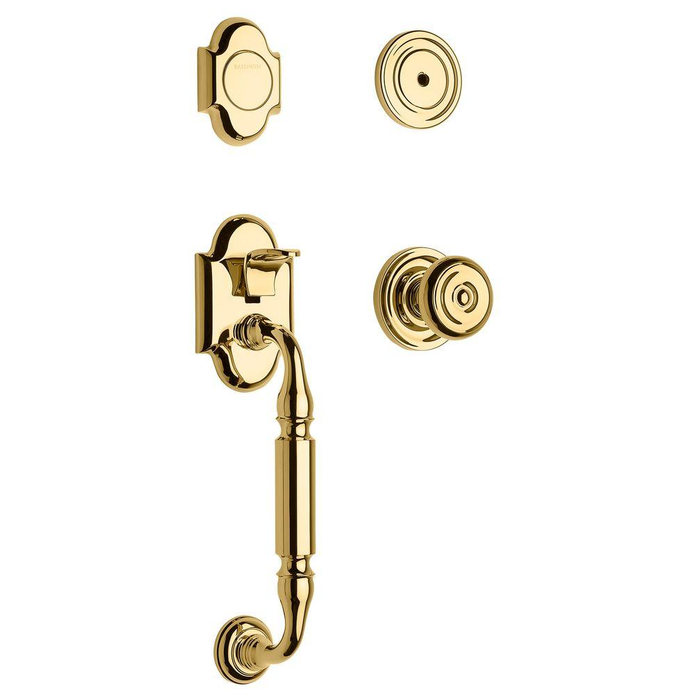 Baldwin Canterbury Lifetime Polished Brass Full-Dummy Handleset with Colonial Knob