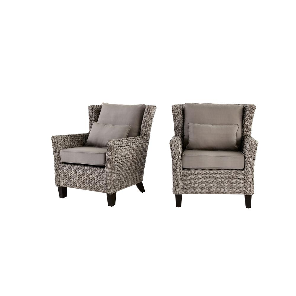 Beau Hampton Bay Megan Grey All Weather Wicker Outdoor Lounge Chair With Cushion  (2