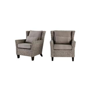 Megan Grey All-Weather Wicker Outdoor Patio Lounge Chair with Cushion (2-Pack)